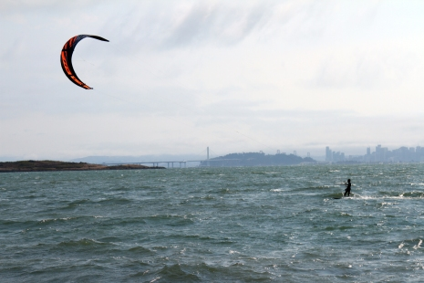 I enjoyed watching the kite-surfers fly through the waves